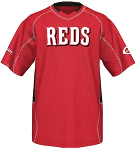 Cincinnati Reds MLB Fast Action Synthetic V Neck Jersey by Majestic