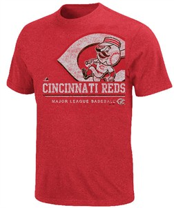 Cincinnati Reds Red Heathered Submariner Baseball T Shirt by Majestic