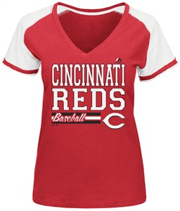 Cincinnati Reds Red Ladies Great Comeback V Neck Tee Shirt by Majestic