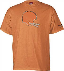 Cleveland Browns Orange Reebok Throwback Short Sleeve Helmet T Shirt On Sale