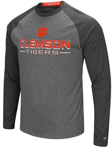 Clemson Tigers Charcoal Ultra Raglan Synthetic Long Sleeve T Shirt