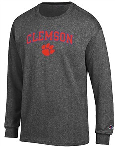 Clemson Tigers Granite Heather Champion Campus Long Sleeve Tee Shirt