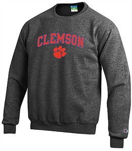 Clemson Tigers Granite Heather Champion Campus Powerblend Screened Crew Sweatshirt