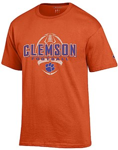 Clemson Tigers Men's Orange Football Short Sleeve T Shirt on Sale