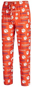 Clemson Tigers Men's Orange Midfield Synthetic Pajama Pants by College Concepts