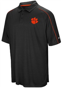 Clemson Tigers Mens Black Touchback Polyester Polo Shirt
