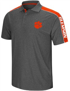Clemson Tigers Mens Charcoal Synthetic Southpaw Polo Shirt