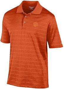 Clemson Tigers Mens Orange Texture Solid Synthetic Polo Shirt on Sale