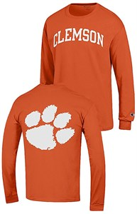 Clemson Tigers Orange 2 Sided Arched Long Sleeve T Shirt by Champion