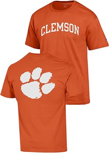 Clemson Tigers Orange 2 Sided Arched Short Sleeve T Shirt by Champion