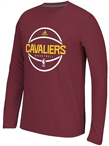Cleveland Cavaliers Adidas On-Court Wine Pre-Game Slimmer Fit Synthetic Long Sleeve T Shirt