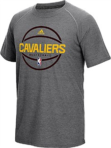 Cleveland Cavaliers Adidas Slim Fit On-Court Grey Pre-Game Ultimate Synthetic Short Sleeve T Shirt