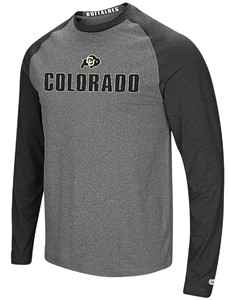 Colorado Buffaloes Mens Grey Social Skills Synthetic Long Sleeve Raglan T Shirt
