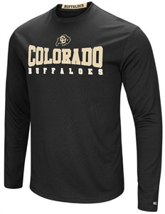 Colorado Buffaloes Mens Black Synthetic Streamer Long Sleeve T Shirt