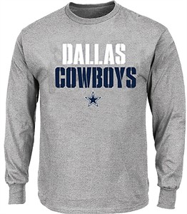 Dallas Cowboys Grey Stencil Stack Long Sleeve T Shirt on Sale
