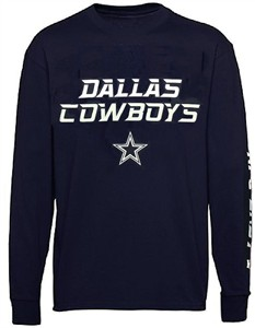 Dallas Cowboys Mens Blue Dash Long Sleeve T Shirt on Sale