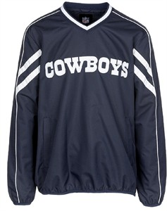 Dallas Cowboys Mens Navy Embroidered Red Zone V Neck Pullover Jacket