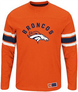 Denver Broncos Adult Orange Power Hit 2 Long Sleeve T Shirt  e77c074a9