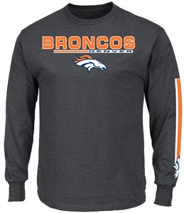 Denver Broncos Charcoal Primary Receiver 5 Long Sleeve Tee