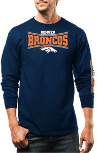 Denver Broncos Mens Navy Fourth Down Long Sleeve Cotton T Shirt