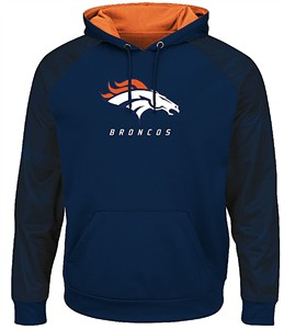 Denver Broncos Navy Armor 3 Pullover Synthetic Majestic Hoodie Sweatshirt