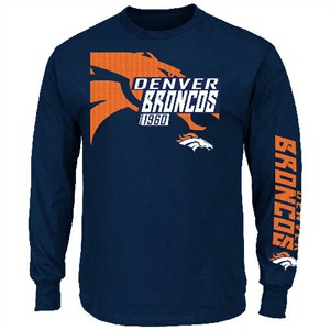 Denver Broncos Navy Dual Threat VI Long Sleeve Tee By Majestic