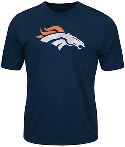 Denver Broncos Navy Synthetic Logo Tech Short Sleeve Tee Shirt