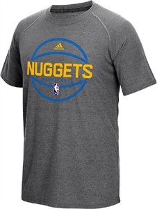 Denver Nuggets Adidas Slim Fit On-Court Dark Grey Pre-Game Ultimate Synthetic Short Sleeve T Shirt