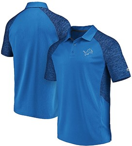 Detroit Lions Mens Blue Majestic Reflective Logo Synthetic Polo Shirt
