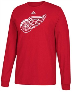 Detroit Red Wings Mens Adidas Red Primary Logo Long Sleeve T Shirt