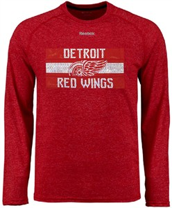 Detroit Red Wings Mens Reebok Name In Lights Ultimate Supremium Synthetic Long Sleeve Shirt