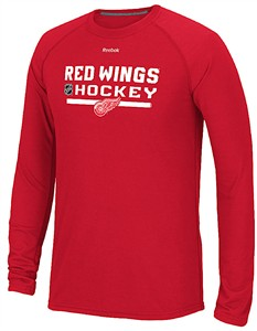 Detroit Red Wings Red Heather Reebok Locker Room Ultimate Synthetic Long Sleeve Performance Shirt