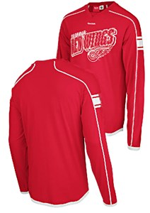 Detroit Red Wings Red Long Sleeve Jersey Shirt by Reebok
