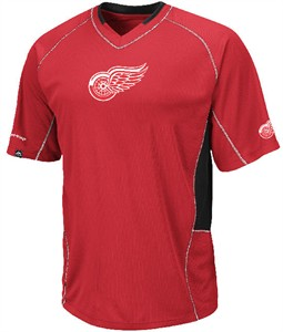 Detroit Red Wings Sweep Check Synthetic V Neck Jersey by Majestic