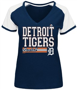 Detroit Tigers Blue Ladies Great Comeback V Neck Tee Shirt by Majestic
