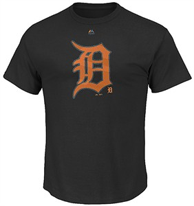 Detroit Tigers Mens Majestic Black Superior Play Short Sleeve Tee Shirt