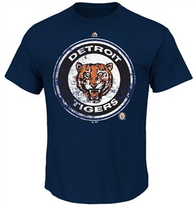 Detroit Tigers Navy Cooperstown League Supreme T Shirt by Majestic