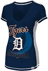 Detroit Tigers Womens Light Up The Stands V Neck Top by Majestic