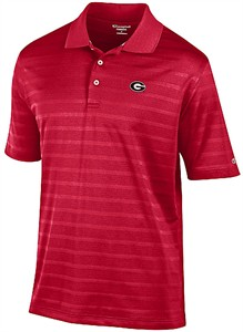 Georgia Bulldogs Mens Red Textured Champion Synthetic Polo Shirt