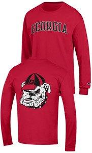 Georgia Bulldogs Scarlet 2 Sided Arched Long Sleeve T Shirt by Champion