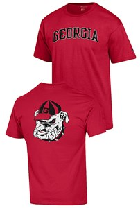 Georgia Bulldogs Scarlet 2 Sided Arched Short Sleeve T Shirt by Champion