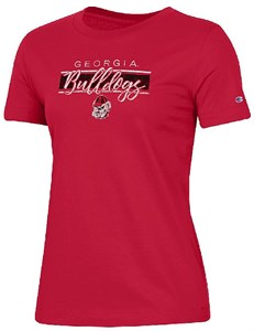 Georgia Bulldogs Women's Red University 2 Short Sleeve Crew Neck T Shirt