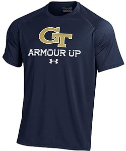 Georgia Tech Yellow Jackets Blue Poly Dry Armour Up HeatGear NuTech Short Sleeve Shirt