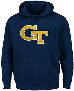 Georgia Tech Yellow Jackets Mens Blue School Logo Light Weight Screened Hoodie Sweatshirt
