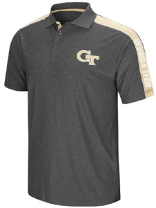 Georgia Tech Yellow Jackets Mens Charcoal Synthetic Southpaw Polo Shirt