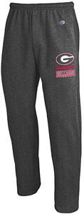 Georgia Bulldogs Adult Charcoal Open Bottom Powerblend Sweatpants by Champion