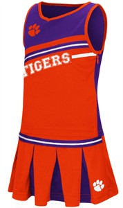 Girls Toddler Clemson Tigers Orange Curling Cheer Set