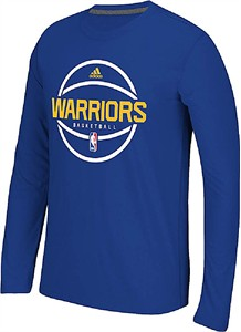 Golden State Warriors Adidas Blue Pre-Game Ultimate Synthetic Slimmer Fit Long Sleeve Shirt