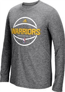 Golden State Warriors Adidas On-Court Dark Grey Pre-Game Ultimate Synthetic Slimmer Fit Long Sleeve T Shirt