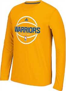 Golden State Warriors Adidas On-Court Gold Pre-Game Ultimate Synthetic Slimmer Fit Long Sleeve T Shirt